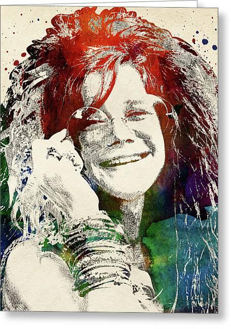 Janis Joplin Portrait Greeting Card