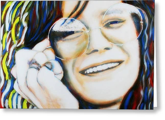 Greeting Card featuring the painting Janis Joplin Pop Art Portrait by Bob Baker