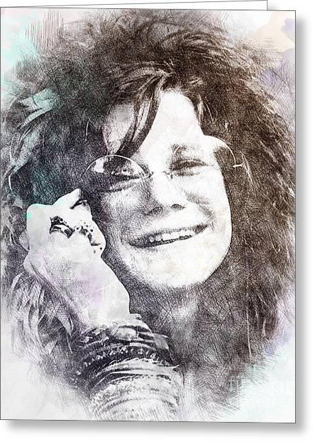 Janis Joplin Portrait 01 Greeting Card by Pablo Romero