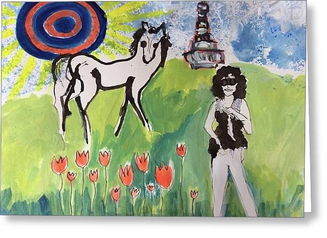 Janis Joplin With A Horse Greeting Card by Radka Zimova King
