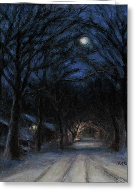 January Moon Greeting Card by Sarah Yuster