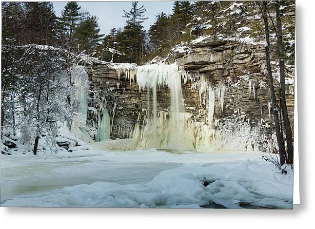 January Morning At Awosting Falls Greeting Card