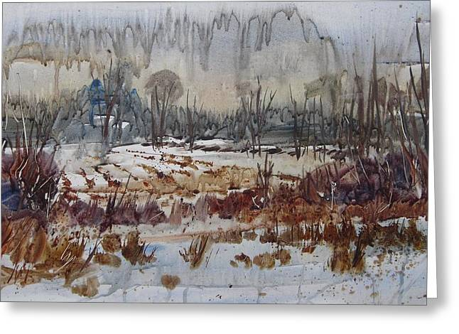 Greeting Card featuring the painting January Rain by Len Stomski