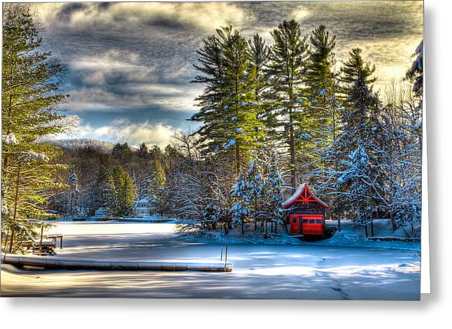 January Snow At The Red Boathouse Greeting Card by David Patterson
