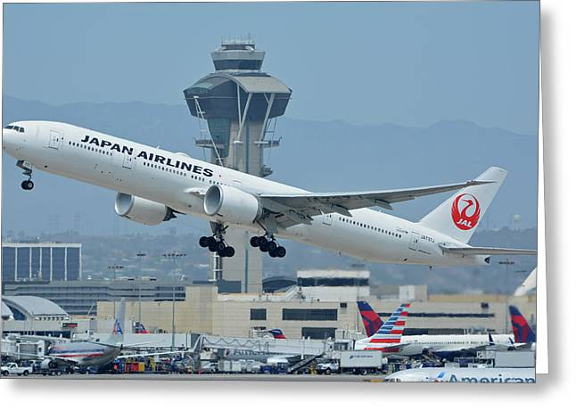 Greeting Card featuring the photograph Japan Airlines Boeing 777-346er Ja737j Los Angeles International Airport May 3 2016 by Brian Lockett