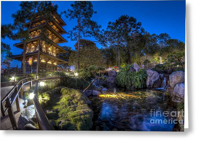 Japan Epcot Pavilion By Night. Greeting Card