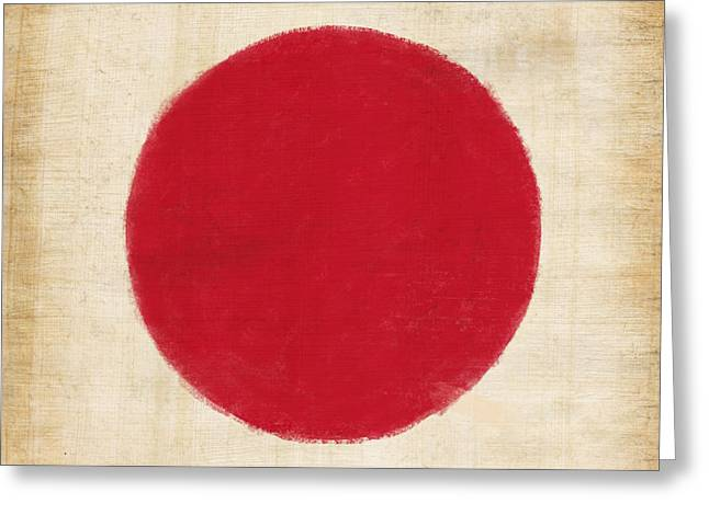 Japan Flag Greeting Card by Setsiri Silapasuwanchai