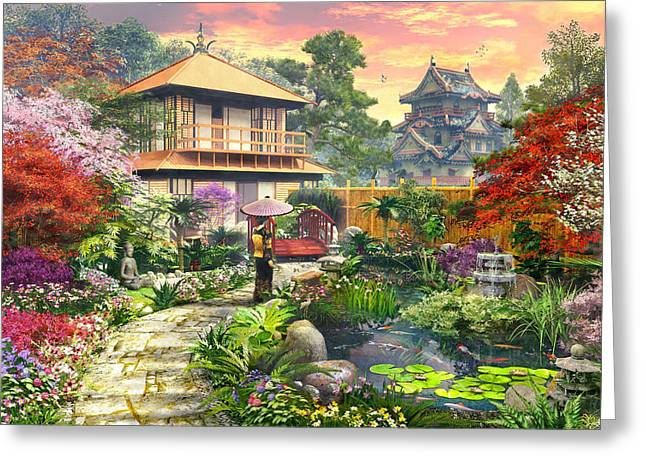 Japan Garden Variant 2 Greeting Card by Dominic Davison