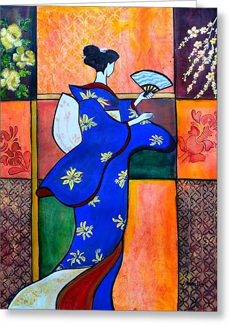 Japan Geisha Kimono Colorful Decorative Painting Ethnic Gift Decor Greeting Card