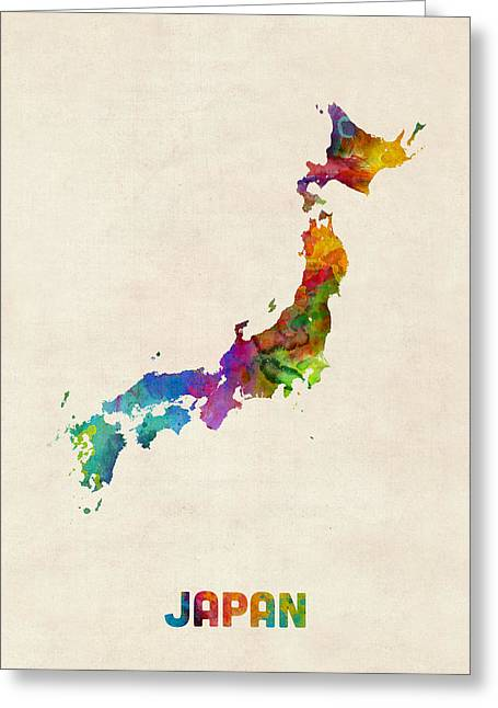 Japan Watercolor Map Greeting Card by Michael Tompsett