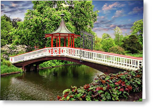 Japanese Bridge Garden Greeting Card