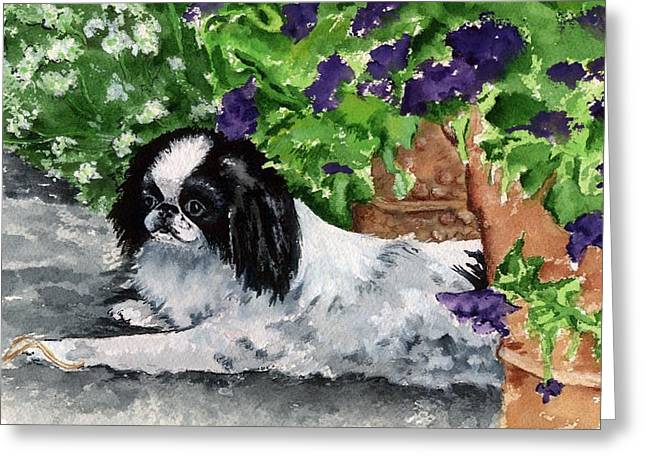 Japanese Chin Puppy And Petunias Greeting Card