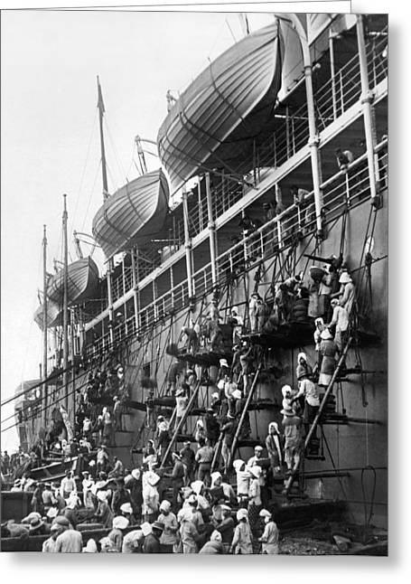 Japanese Fueling A Steamship Greeting Card