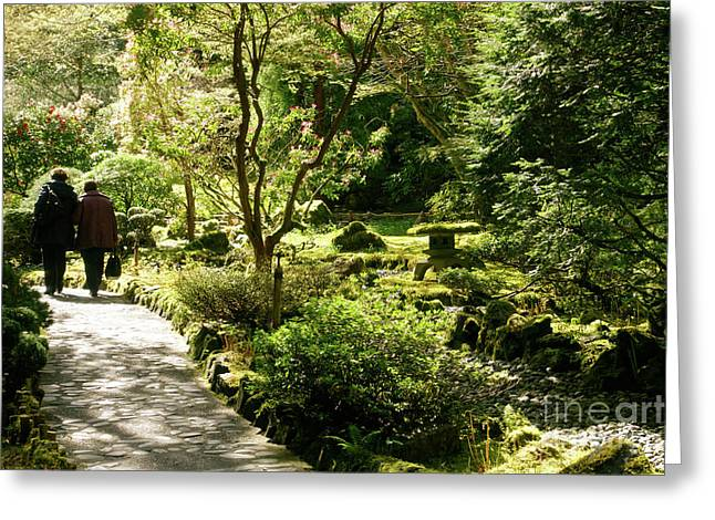 Japanese Garden At Butchart Gardens In Spring Greeting Card by Louise Heusinkveld