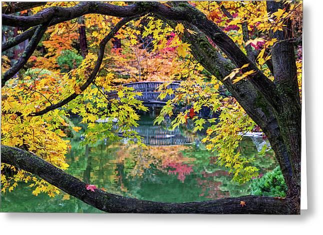 Japanese Garden Autumn Greeting Card by Mark Kiver