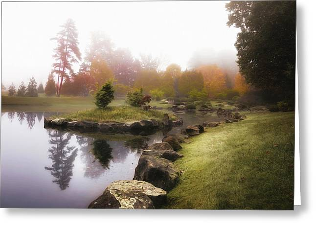 Japanese Garden In Early Autumn Fog Greeting Card