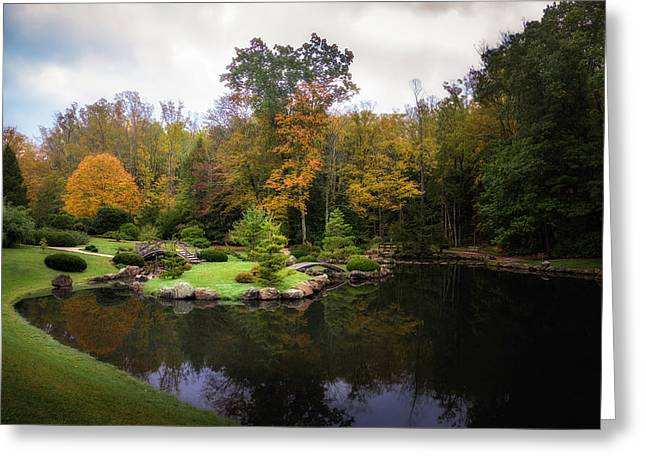 Japanese Garden In Early Autumn Greeting Card