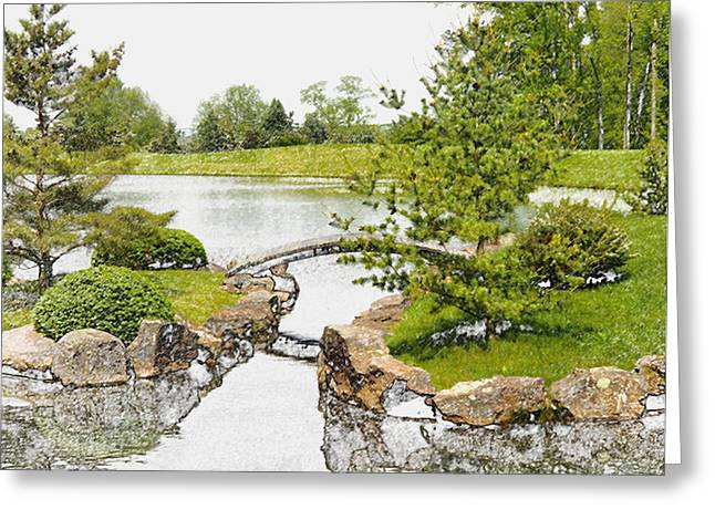 Japanese Garden In Ohio Greeting Card by Mindy Newman