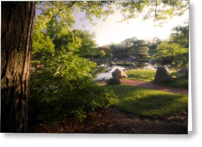 Japanese Garden In The Morning Greeting Card