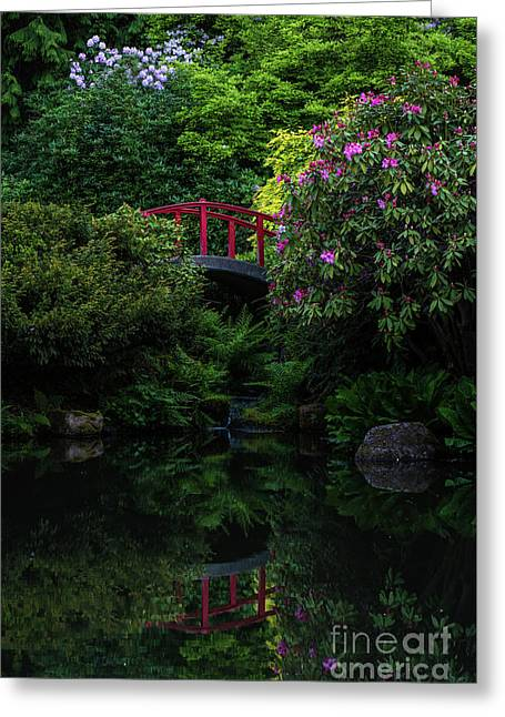 Japanese Garden Red Bridge Serenity Greeting Card by Mike Reid