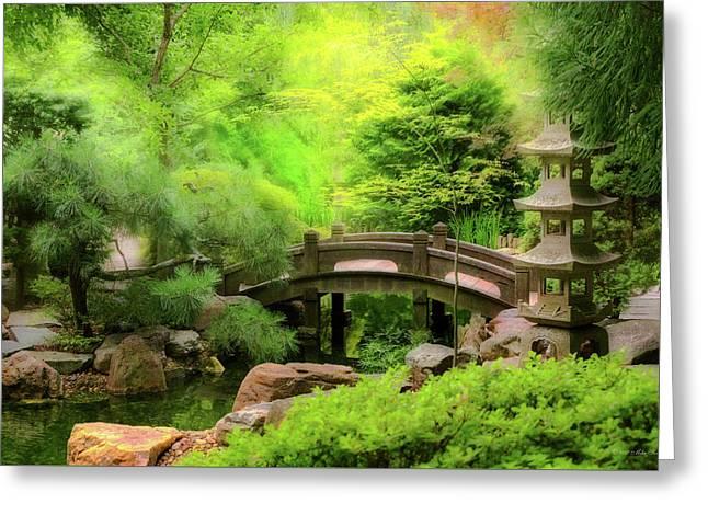 Japanese Garden - Water Under The Bridge Greeting Card