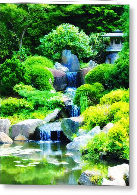 Japanese Garden Waterfall Greeting Card by Bill Cannon