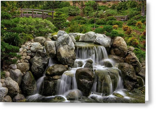 Japanese Garden Waterfalls Greeting Card