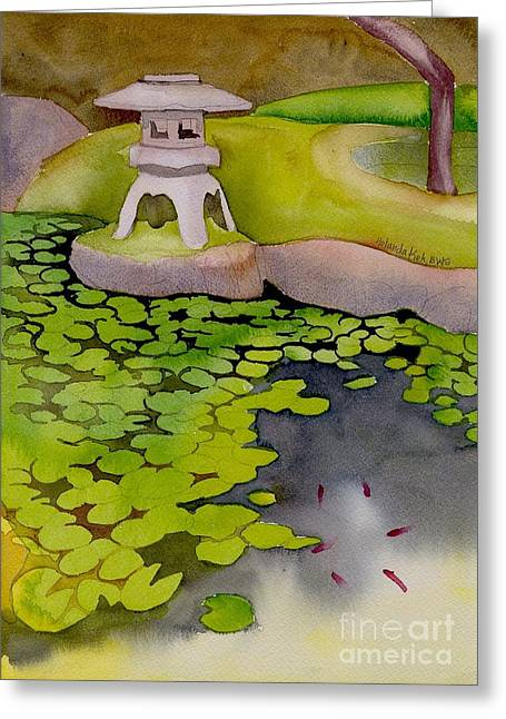 Japanese Garden Greeting Card by Yolanda Koh