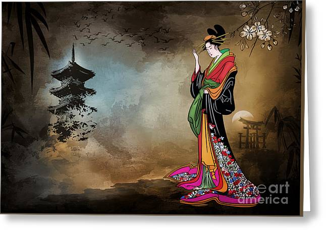 Greeting Card featuring the digital art Japanese Girl With A Landscape In The Background. by Andrzej Szczerski