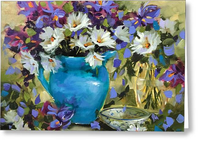 Japanese Iris And Daisies Greeting Card