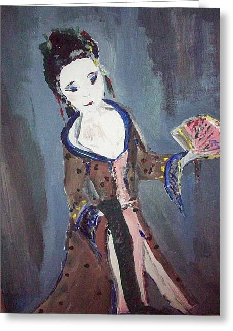 Greeting Card featuring the painting Japanese Lady by Judith Desrosiers