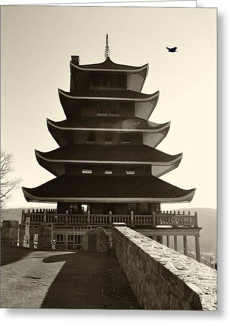 Japanese Pagoda Overlooking Reading Pa Greeting Card by Bill Cannon