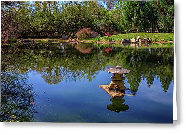 Japanese Reflections At Maymont Greeting Card by Rick Berk