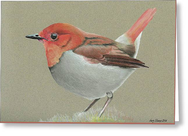 Greeting Card featuring the drawing Japanese Robin by Gary Stamp