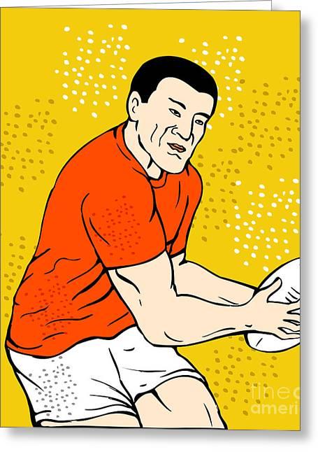 Japanese Rugby Player Passing Ball Greeting Card by Aloysius Patrimonio