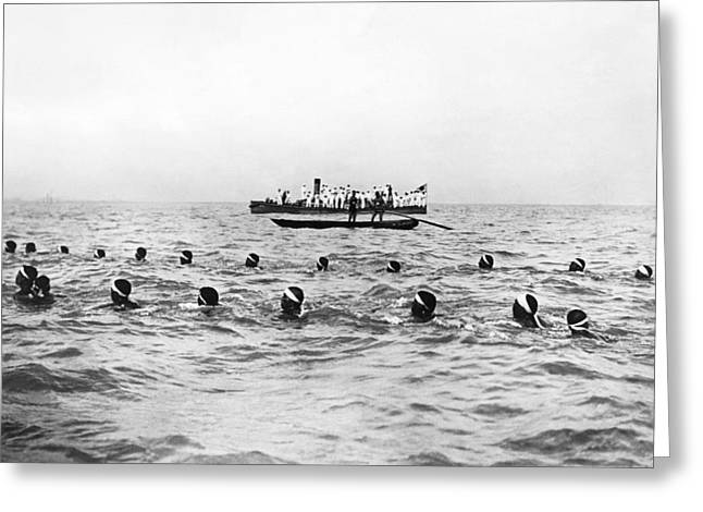 Japanese Sailors Swim 20 Miles Greeting Card by Underwood Archives