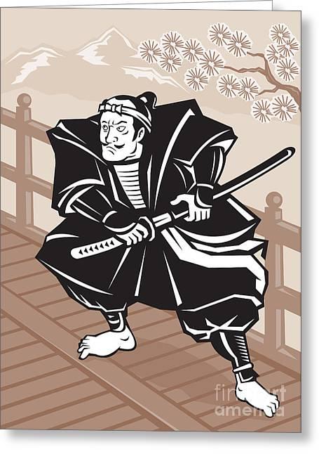 Japanese Samurai Warrior Sword On Bridge Greeting Card by Aloysius Patrimonio
