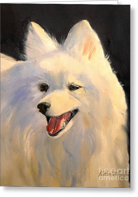 Japanese Spitz Dog  White Dog Greeting Card