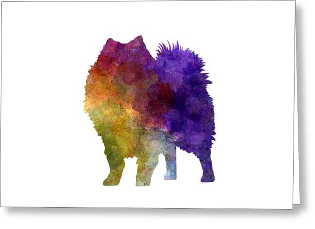 Japanese Spitz In Watercolor Greeting Card