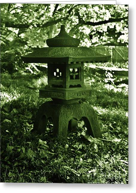 Japanese Stone Lantern In Green Greeting Card