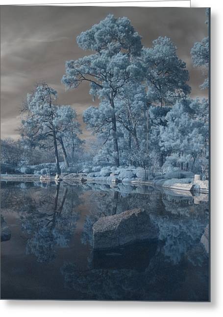 Greeting Card featuring the photograph Japanese Tea Garden Infrared Center by Joshua House