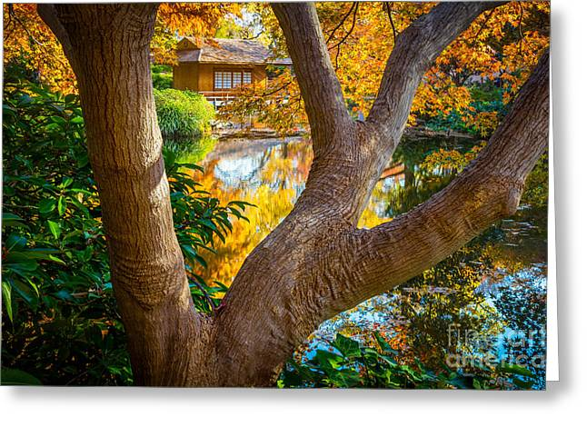 Japanese Tea House Greeting Card by Inge Johnsson