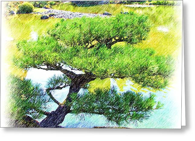 Japanese Tree Greeting Card by Ralph Liebstein