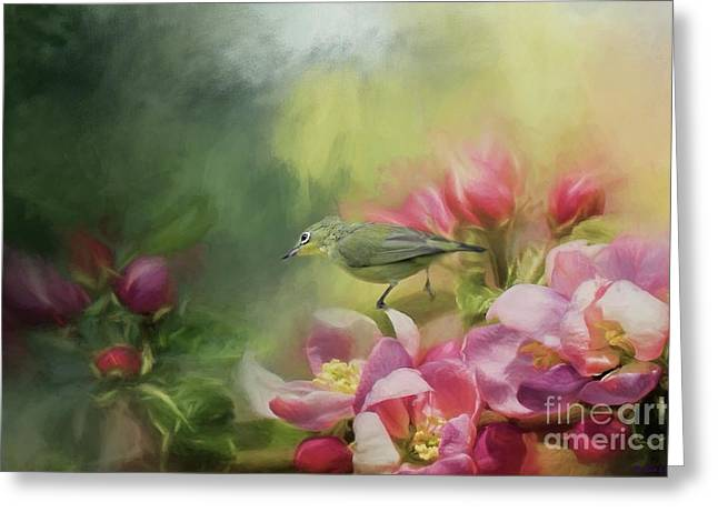 Japanese White-eye On A Blooming Tree Greeting Card
