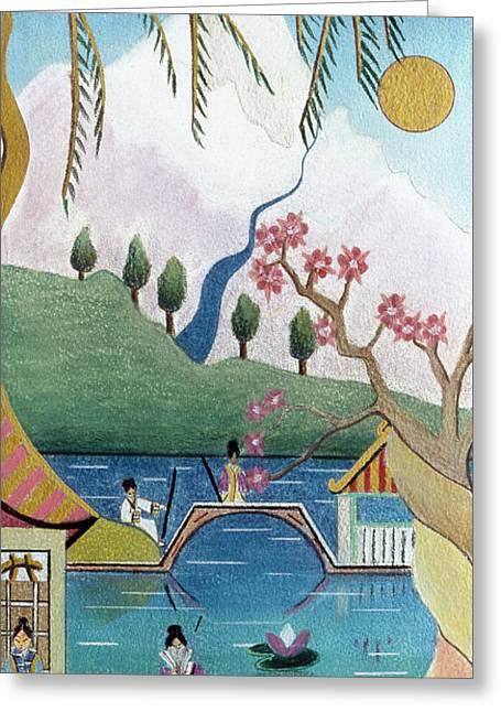 Japanese Willow Greeting Card by Sally Appleby