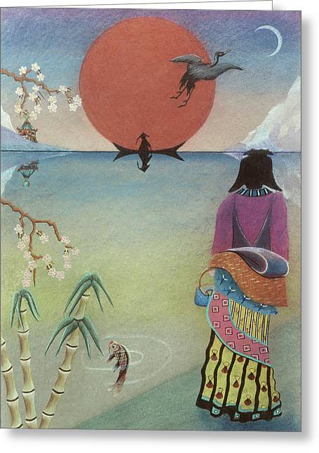 Japanese Woman Greeting Card by Sally Appleby
