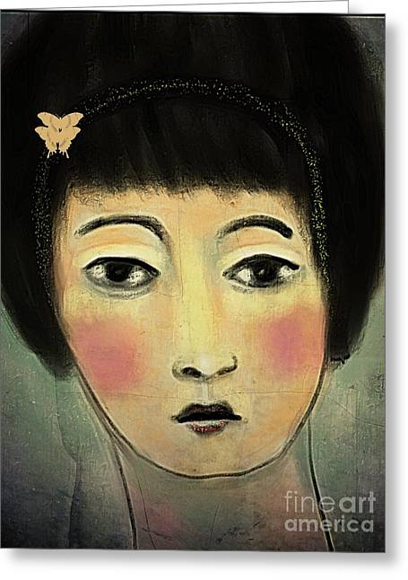 Japanese Woman With Butterflies Greeting Card by Alexis Rotella