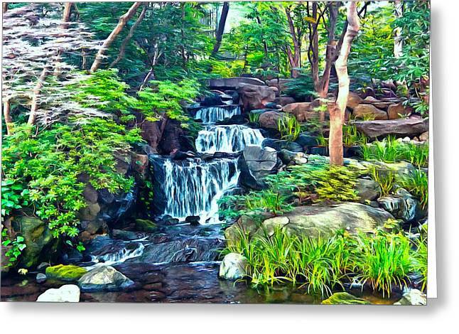 Greeting Card featuring the photograph Japanese Waterfall Garden by Scott Carruthers