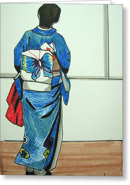 Greeting Card featuring the drawing Japonese Girl by Patricia Arroyo