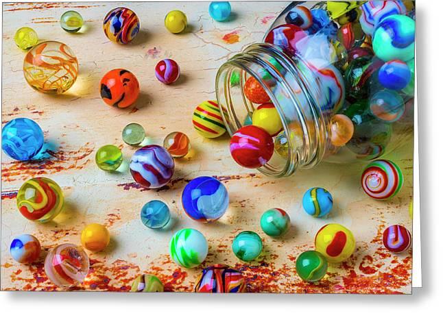 Jar Of Childhood Marbles Greeting Card